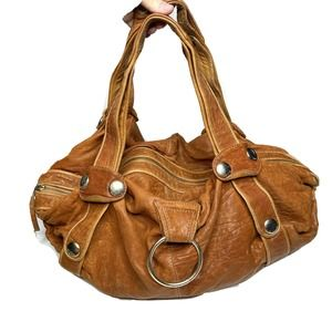 GUSTTO Cognac Leather Large Slouchy Hobo Purse